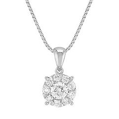Round Diamond Cluster Pendant (18 in.)