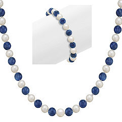 6.5mm Cultured Freshwater Pearl and Sodalite Strand and Bracelet Two Piece Set (30 in.)