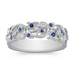 Vintage Sapphire and Diamond Wedding Band with Pave Setting
