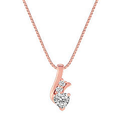 Heart-Shaped and Round White Sapphire Pendant in 14k Rose Gold (18 in.)