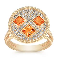 Princess Cut Orange Sapphire and Round Diamond Ring