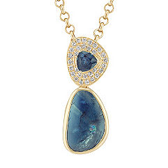 Freeform Blue Green Sapphire, Trillion Sapphire, and Round Diamond Pendant (18 in.)