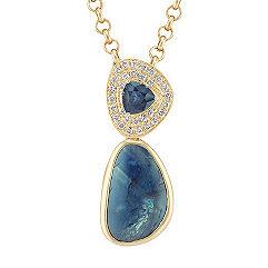 Freeform Blue Green Sapphire, Trillion Sapphire, and Round Diamond Pendant (18 in.)