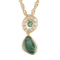 Freeform Green Sapphire, Round Green Sapphire, and Round Diamond Pendant (18 in.)