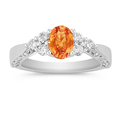 Oval Orange Sapphire and Round Diamond Ring