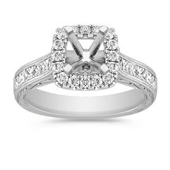 Halo Princess Cut and Round Diamond Engagement Ring with Channel Setting