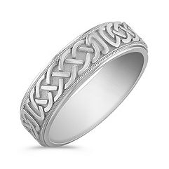 Celtic White Gold Comfort Fit Ring (6.5mm)