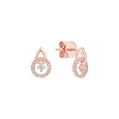 Round Diamond Earrings in 14k Rose Gold