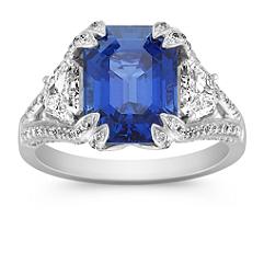 Emerald Cut Sapphire, Fancy Shape and Round Diamond Ring
