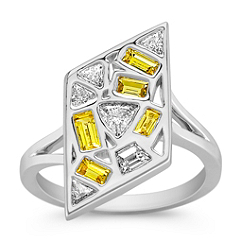 Fancy Shape Yellow Sapphire and Fancy Shape Diamond Ring