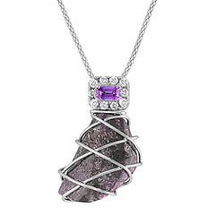 Rough Ruby, Emerald Cut Lavender Sapphire, and Round Diamond Pendant (18 in.)