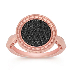 Round Black Sapphire Ring in 14k Rose Gold