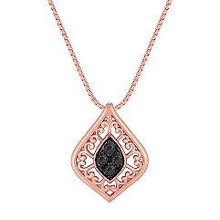 Black Sapphire Pendant in 14k Rose Gold (18 in.)