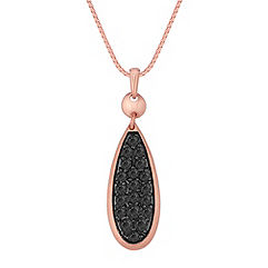 Round Black Sapphire Pendant in 14k Rose Gold (18)