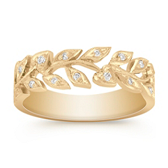 Leaf and Heart Diamond Ring