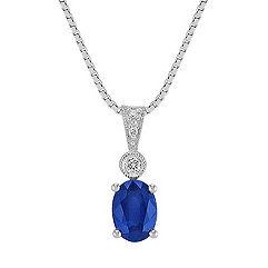 Oval Sapphire and Round Diamond Pendant (18)