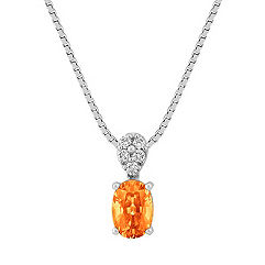 Oval Orange Sapphire and Round Diamond Pendant (18 in.)