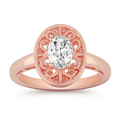 Vintage Oval White Sapphire and Rose Gold Ring