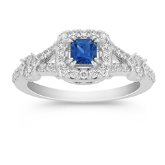 Princess Cut Sapphire and Round Diamond Ring