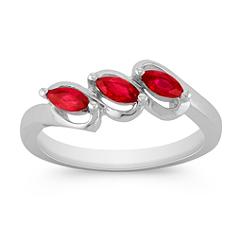 Three-Stone Marquise Ruby Ring