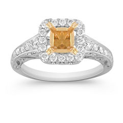 Halo Pave Set Diamond Engagagement Ring in Two-Tone Gold