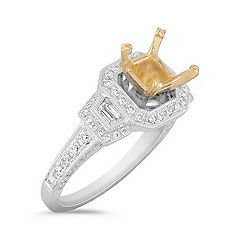 Halo Trapezoid and Round Diamond Engagement Ring in Two-Tone Gold