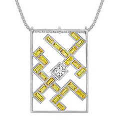 Baguette Yellow Sapphire and Princess Cut White Sapphire Pendant (22 in.)