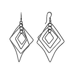Black Sterling Silver Dangle Geometric Earrings