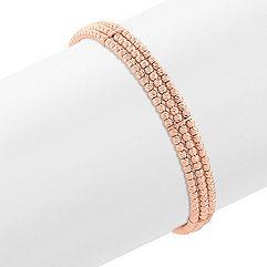 Rose Sterling Silver Flex Cuff Bracelet (7 in.)