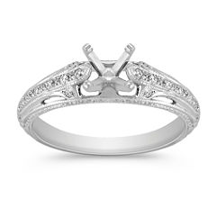 Windowed Vintage Diamond Platinum Engagement Ring