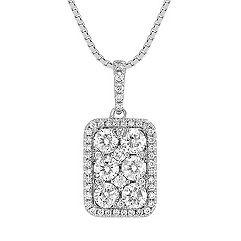 Rectangle Diamond Cluster Pendant (18)