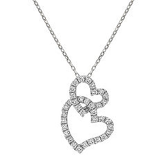Intertwined Double Heart Diamond Pendant (18 in.)