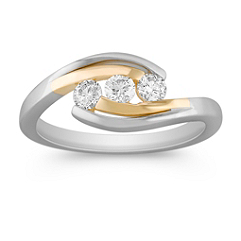 Round Diamond Three-Stone Anniversary Band in Two-Tone Gold