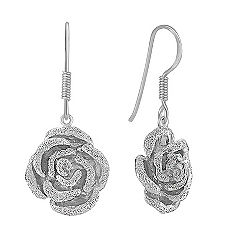 Sterling Silver Rose Earrings
