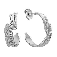 Sterling Silver Feather Hoop Earrings