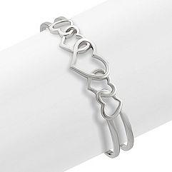 Sterling Silver Heart Cuff Bracelet (7 in.)