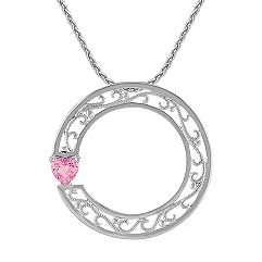 Heart-Shaped Pink Sapphire and Sterling Silver Circle Sweetheart Pendant (18)