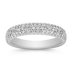 Triple Row Diamond Wedding Band with Pave Setting