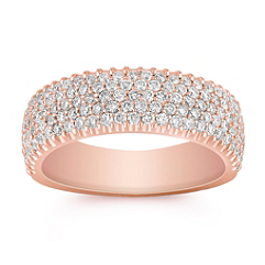 Rose Gold Round Diamond Wedding Band with Pave Setting
