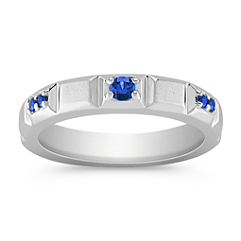 Round Sapphire Wedding Band for Her