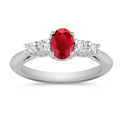Oval Ruby and Round Diamond Ring