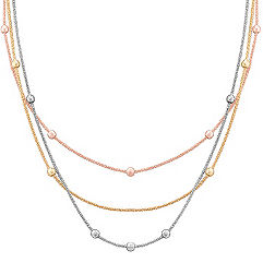 Sterling Silver, Yellow Sterling Silver, and Rose Sterling Silver Necklace (24 in.)