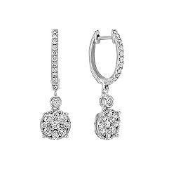 Diamond Cluster Hoop Earrings