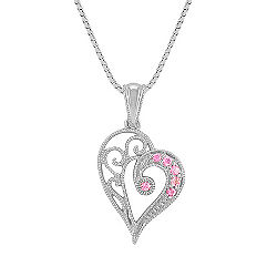 Vintage Pink Sapphire Heart Pendant (18 in.)
