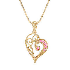 Pink Sapphire Vintage Heart Pendant (18 in.)