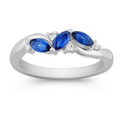 Marquise Sapphire and Round Diamond Ring