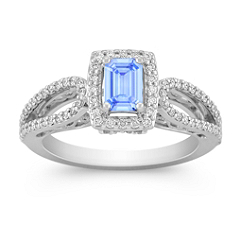Halo Emerald Cut Ice Blue Sapphire and Diamond Ring