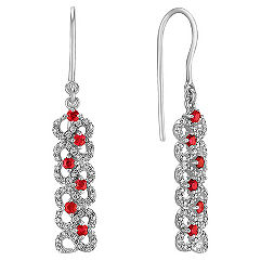 Ruby and Diamond Dangle Earrings