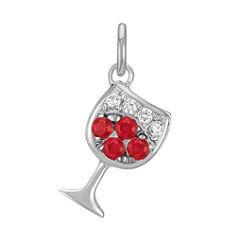 Round Ruby and Diamond Glass of Wine Charm