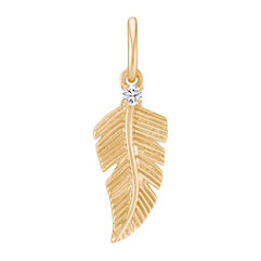 Round Diamond Feather Charm